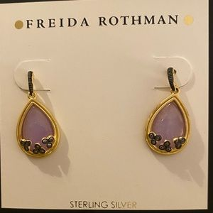 Freida Rothman Gold/Lilac Teardrop Earrings. NWT
